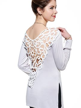 Ericdress Casual Lace Patchwork Hollow T-Shirt