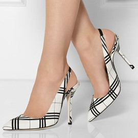 Ericdress Strips Print Plaid Slingback Stiletto Sandals