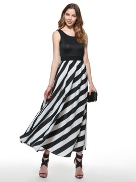 Ericdress Stripe Patchwork Floor-Length Maxi Dress