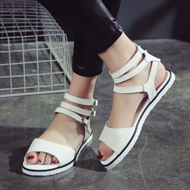 Ericdress Delicate White Buckles Flat Sandals