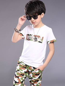 Ericdress Print Camouflage Patchwork Casual Boys Outfits