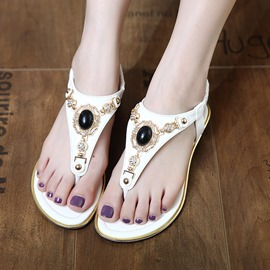 Ericdress Ethnic Beads Thong Flat Sandals