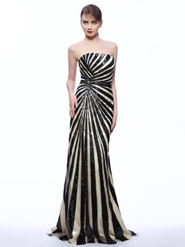 Ericdress Strapless Sheath Sequins Bush Train Evening Dress