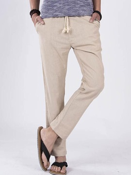 Ericdress Plain Linen Loose Casual Men's Pants