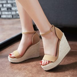 Ericdress Suede Ankle Strap Crochet Wedge Sandals