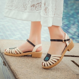 Ericdress Patchwork Round Toe Cut Out Flat Sandals