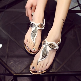 Ericdress Metal Leaf Thong Flat Sandals