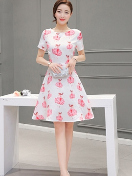Ericdress Ladylike Short Sleeve Print Casual Dress