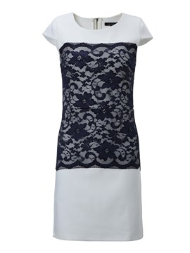 Round-Neck Short Sleeves Lace Sheath Dress