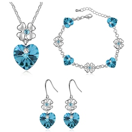 Blue Crystal Three-Piece Jewelry Set