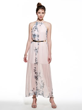 Ericdress Boho Halter Print Floor-Length Maxi Dress