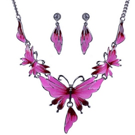 Alloy Drip Butterfly Jewelry Set