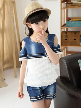 Ericdress Denim Patchwork Girls Outfit
