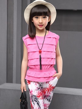 Ericdress Sleeveless Pleated Girls Outfit