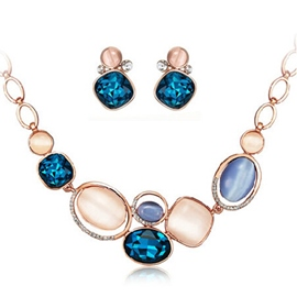 Short Sapphire Two-Piece Jewelry Set
