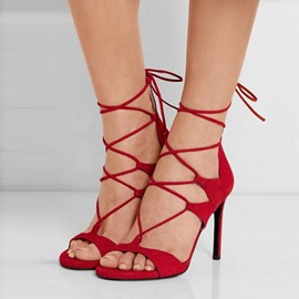 Ericdress Open Toe Zipper Plain Cross Strap Stiletto Sandals