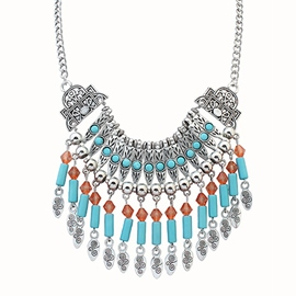 Blue Tassel Carve Patterns Retro Necklace