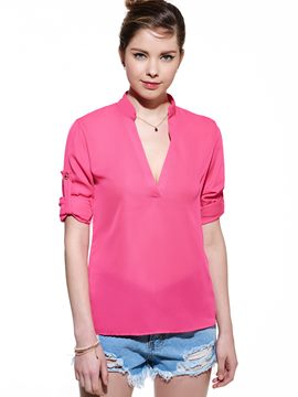Ericdress Plain Loose V-Neck Blouse