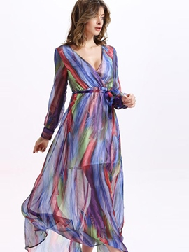 Ericdress Boho V-Neck Stripe Long Maxi Dress