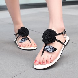 Ericdress Thong T-Shaped Appliques Flat Sandals