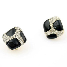 Black Glaze Rhinestone Stud Earrings