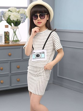 Ericdress Stripe Short Sleeve Girls Skirt Outfit