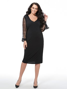 Ericdress Plus Size V-Neck Sheath Dress