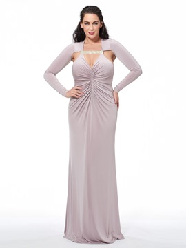 Ericdress Plus Size Long Sleeves Halter Sheath Ruched Long Evening Dress