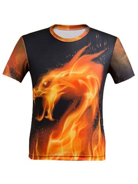 Ericdress Crew Neck 3D Fire Dragon Printed Men's T-Shirt