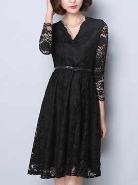 Ericdress Long Sleeve Patchwork Soild Color Lace Dress