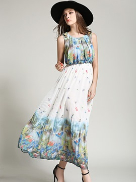 Ericdress Boho Pleated Sleeveness Print Maxi Dress