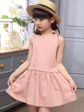 Ericdress Solid Color Sleeveless Girls Summer Dress
