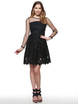 Ericdress Mesh Hollow Lace Dress