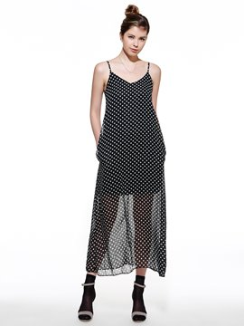 Ericdress Spaghetti Strap Polka Dot Maxi Dress