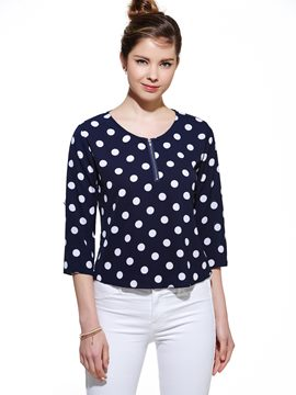 Ericdress Loose Zipper Polka Dots Blouse