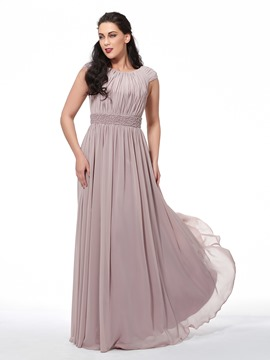 Ericdress Plus Size A-Line Scoop Cap Sleeves Beading Draped Brush Train Evening Dress