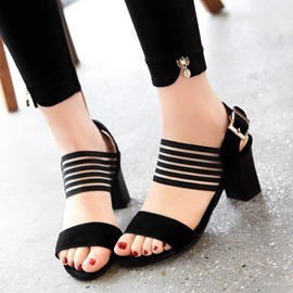 Ericdress Stripe Slingback Strap Chunky Sandals