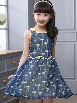 Ericdress Sleeveless Animal Print Girls Dress