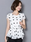 Ericdress Slim Polka Dots Lace-Up Blouse