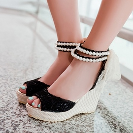 Ericdress Lace Pearl Ankle Strap Wedge Sandals