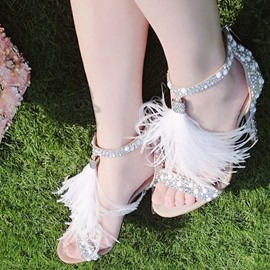 Ericdress Sexy Rhinestone T Strap Stiletto Sandals