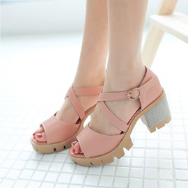 Ericdress Pu Peep Toe Chunky Sandals