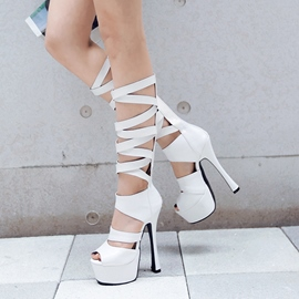 Ericdress Bright Cross Strap Cut Out Knee High Sandals