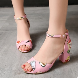 Ericdress Floral Print Chunky Sandals