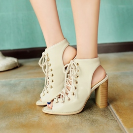 Ericdress Peep Toe Lace-Up Plain Hollow Chunky Sandals