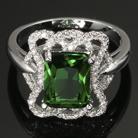 Platinum Plated with Green Zircon Ring