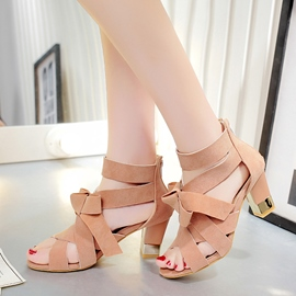 Ericdress Trendy Plain Peep Toe Bowknot Chunky Sandals