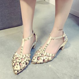 Ericdress Vintage Rivets T Strap Chunky Sandals