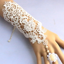 Ericdress Vintage Flower Design Lace Bracelet with Ring