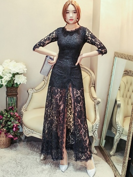 Ericdress Solid Color Round Neck Split Lace Dress